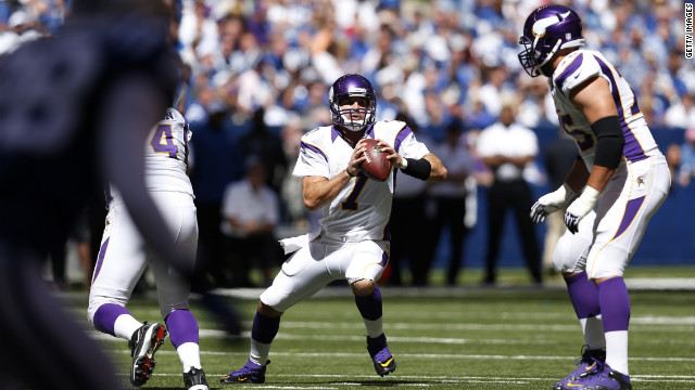 Christian Ponder of the Minnesota Vikings looks to pass against the Indianapolis Colts during Sunday's game at Lucas Oil Stadium in Indianapolis.