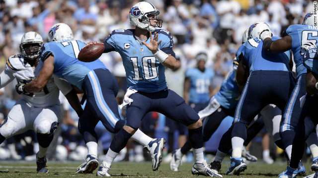 Tennessee Titans quarterback Jake Locker looks to pass in Sunday's game against the San Diego Chargers.