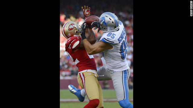 Carlos Rogers of the San Francisco 49ers breaks up a pass to Tony Scheffler of the Detroit Lions in the first quarter of Sunday's game.