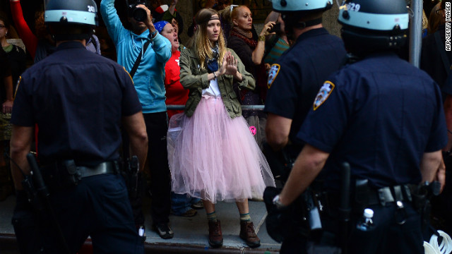 Participants in the Occupy Wall Street protest take part in a rally to mark the one-year anniversary of the movement on Monday.