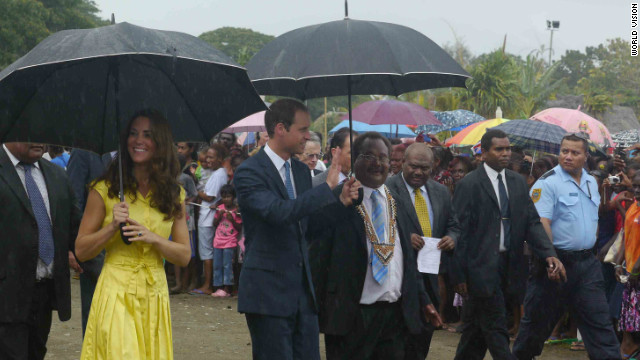 The Duke and Duchess of Cambridge learn more about poverty and village life in the Solomon Islands.
