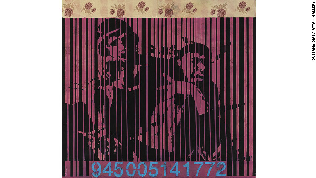 "This picture, called ""Barcode 2,"" is taken from a photograph of one of the Palestinian intifadas and, says Daib, shows how politicians advertise violence. ""Although the picture is from the Palestinian intifada, it refers to all violence everywhere,"" said added."