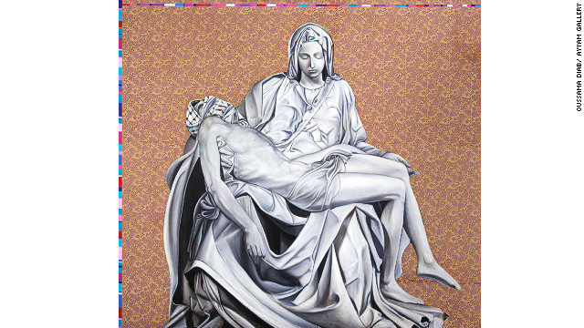 """New Pieta"" reconfigures Michaelangelo's ""Pieta"" sculpture, but adds a keffiyah to Jesus Christ to show him as a Palestinian rebel. ""Mary here is the mother of all Palestinian martyrs,"" said Diab. ""Every day there's a new Jesus Christ in Palestine. Every day there's a new Mother Mary crying for her Jesus Christ."""