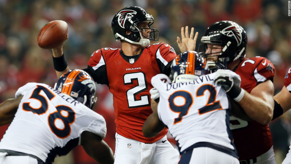 Atlanta Falcons quarterback Matt Ryan looks to throw the ball during the game against the Denver Broncos at the Georgia Dome in Atlanta on Monday, September 17. Check out the action from Week 2 of the 2012 National Football League season, and &lt;a href='http://www.cnn.com/2012/09/09/worldsport/gallery/nfl-week-1/index.html'&gt;look back at the best of Week 1&lt;/a&gt;.