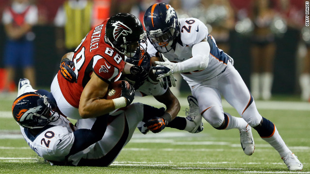 Tony Gonzalez of the Atlanta Falcons catches the ball during Monday night's game against the Denver Broncos.