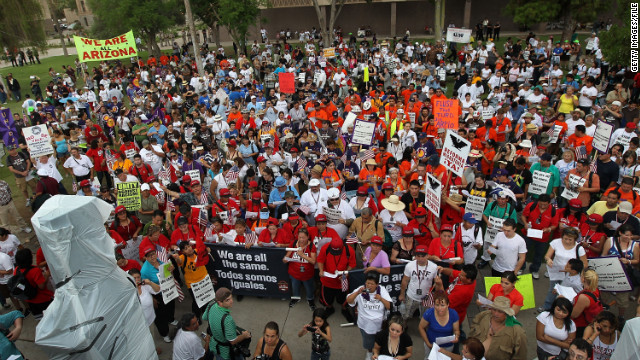 Protesters gathered at the Arizona state capitol to demonstrate against the controversial immigration law on July 29, 2010.