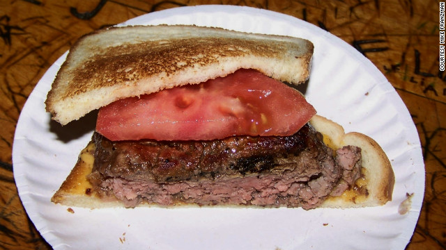 The supposed originator of the hamburger, Louis' Lunch in New Haven, Connecticut, has been serving beef patties on white toast since before buns were invented.