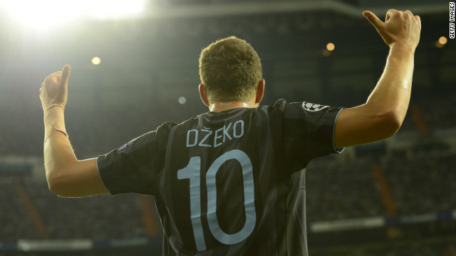 Edin Dzeko came off the bench to give Manchester City the lead against Real Madrid in their European Champions League encounter in the Spanish capital.