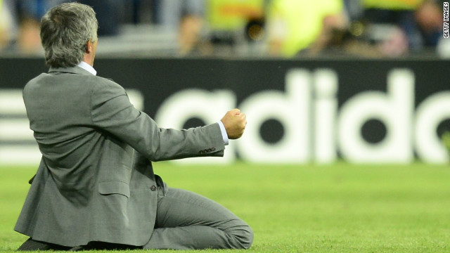 But it was Jose Mourinho's Real who edged a pulsating tie, Cristiano Ronaldo scoring a last-minute winner to give the Spanish champions a 3-2 win. As the ball struck the net, Mourinho slid on his knees across the touchline.
