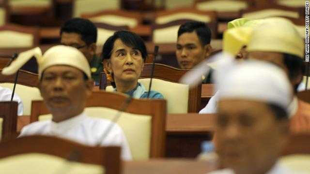 Suu Kyi sits in the lower house parliament session in Naypyidaw on July 10.