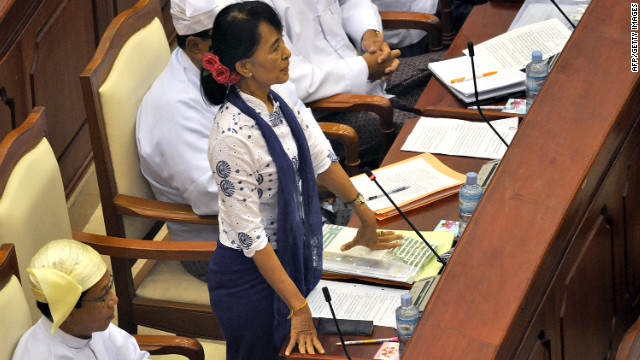 Suu Kyi speaks during a regular session at the lower house of parliament in Naypyidaw, Myanmar, on July 25. Suu Kyi called for laws to protect the rights of the nation's myriad ethnic minorities in her inaugural address to the fledgling parliament.