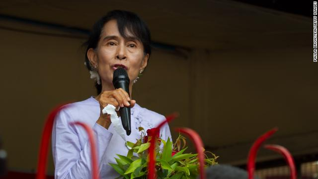Suu Kyi speaks at the National League for Democracy party headquarters after after a landslide victory for a seat in the parliament on April 2 in Yangon. The NLD claimed 43 out of 44 parliamentary seats as the country continues its path of political and diplomatic reform. 