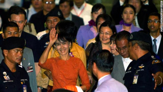 Suu Kyi leaves the Suvarnabhumi International airport on her first international trip in 24 years outside Myanmar on May 29 in Bangkok, Thailand. 