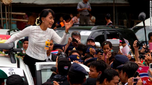 Suu Kyi visits the Mae La refugee camp on June 2 in the western province of Tak, Thailand. The camp, situated along the Myanmar-Thailand border, is home to around 45,000 Karen people, an ethnic minority in Myanmar.