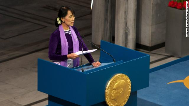 Suu Kyi speaks during a Nobel lecture at Oslo City Hall on June 16 in Oslo, Norway. She was awarded the Nobel Peace Price in 1991 but had not been able to receive it until now because she was kept under house arrest for most of the past 24 years.