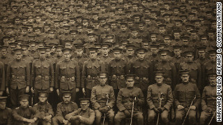 The Reserve Officers' Training Corps at Harvard was one of the first in the nation. Here they are being photographed on Memorial Day, May 30, 1917.