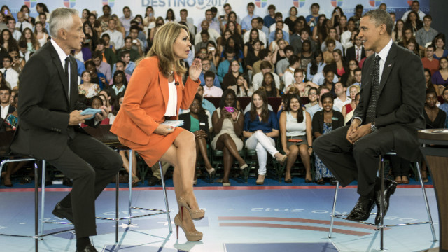 President Barack Obama appears with Jorge Ramos, left, and Maria Elena Salinas, center, during the taping of Univision News's 'Meet the Candidates' forum Thursday.