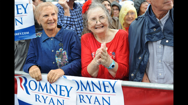 Supporters wait for Romney to speak at a campaign rally at Lake Erie College in Painesville, Ohio, on Friday, September 14.