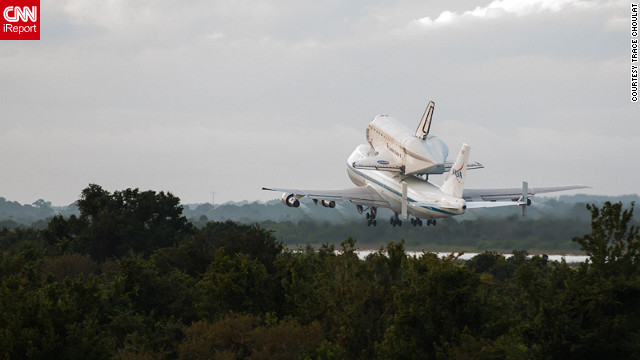 Onlookers shared their <a href='http://ireport.cnn.com/topics/1309/featured#stories'>best photos</a> of space shuttle Endeavour's final flight with <a href='http://ireport.cnn.com/topics/1309/featured#stories'>CNN iReport</a>. Here, the shuttle <a href='http://ireport.cnn.com/docs/DOC-843919'>leaves Florida's Kennedy Space Center</a> atop a 747 the morning of Wednesday, September 19, 2012.