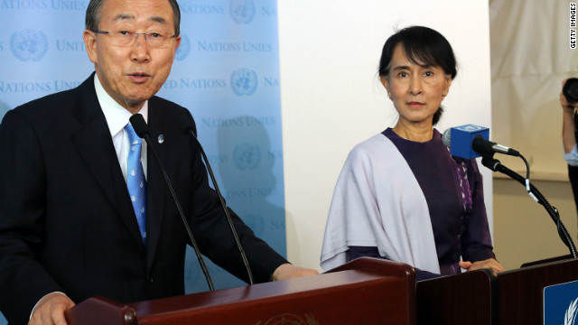  Aung San Suu Kyi and Ban Ki-Moon speak to the media following a meeting at the U.N. on September 21, 2012 in New York City.