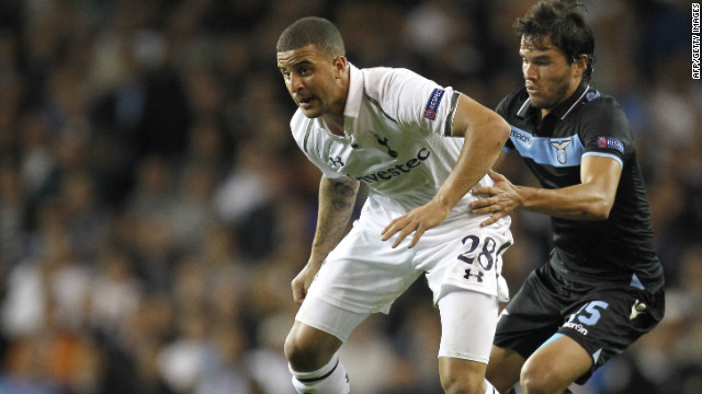 Tottenham's Kyle Walker in action against Lazio's Alvaro Gonzalez during the 0-0 Europa League draw at White Hart Lane.