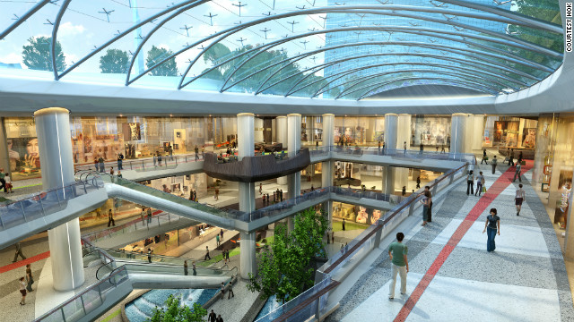 Beneath the towers is a retail space with a honeycomb roof (as this CGI shows). &quot;A lot of our buildings are pragmatic, developer-led buildings, but we're trying to do something spiritual and sculptural,&quot; says Hughes.