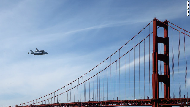 Space shuttle Endeavour passes over the Golden Gate Bridge before making its final landing in Los Angeles on Friday, September 21. The shuttle passed over California landmarks before heading to the airport. Endeavour will be placed on public display at the California Science Center. This is the final ferry flight scheduled in the Space Shuttle Program era. <a href='http://www.cnn.com/SPECIALS/world/photography/index.html' target='_blank'>See more of CNN's best photography</a>.