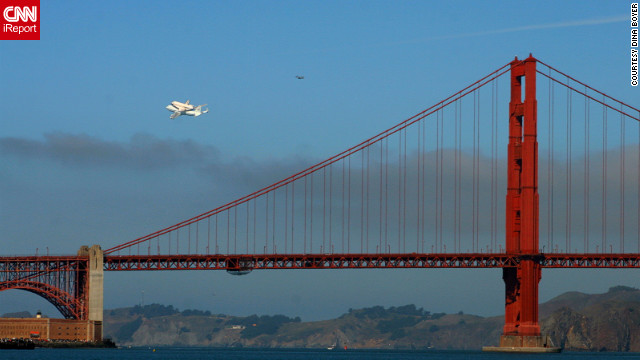Endeavour completed a flyover of San Francisco before continuing on to Los Angeles. Here, it makes a pass &lt;a href='http://ireport.cnn.com/docs/DOC-845053'&gt;over the Golden Gate Bridge&lt;/a&gt;.