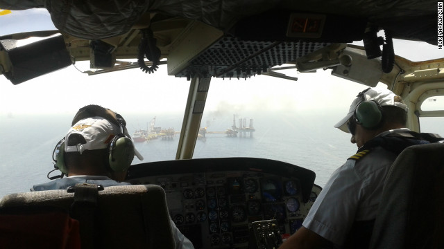The exploration platform is a 20-minute helicopter ride over the Gulf of Mexico.