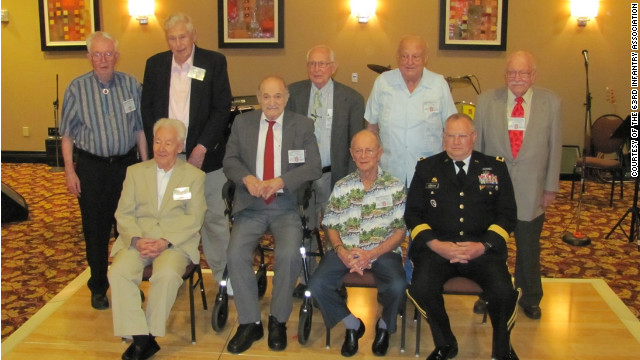 Eight of the remaining members of the 63rd Infantry Division, which fought through France and Germany in World War II, at a recent reunion in Ohio. Maj. Gen. Michael Schweiger, commander 63rd Regional Support Command also attended.