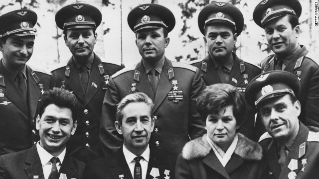 Russia's Valentina Tereshkova (second from right) became the first woman in space in 1963, orbiting earth 48 times over three days. 