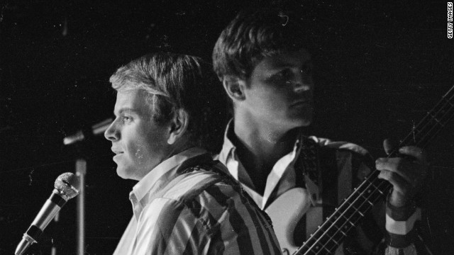 Al Jardine, left, and Bruce Johnston in concert at the Finsbury Astoria in London, November 1966.