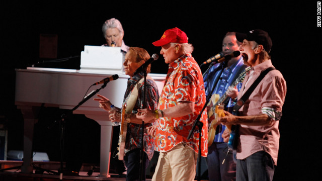 Musicians Brian Wilson, Al Jardine, Mike Love and David Marks perform during the Beach Boys 50th Anniversary Concert Tour at the Anselmo Valencia Amphitheater in April 2012 in Tucson, Arizona.