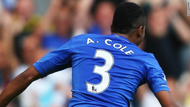 Ashley Cole celebrates a rare goal as Chelsea beat Stoke 1-0 to go three points clear of the EPL. 