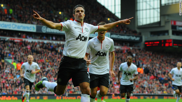 Robin van Persie converted an 81st minute penalty to give Manchester United victory at Anfield.