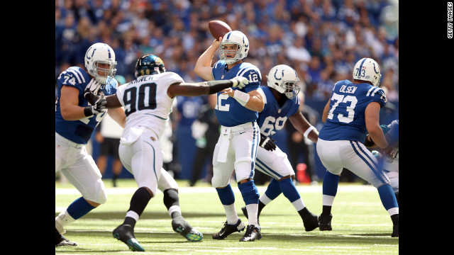 Andrew Luck of the Indianapolis Colts throws a pass during Sunday's game against the Jacksonville Jaguars in Indianapolis.