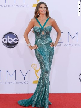 "Sofia Vergara sparkled in a skin-tight mermaid gown at the 2012 Emmys. The dress later split on the ""Modern Family"" star, causing her team to literally sew her back into it."