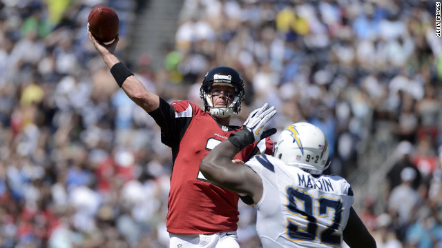 Vaughn Martin of the Chargers pressures Falcons quarterback Matt Ryan.
