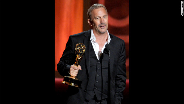 "Kevin Costner accepts the outstanding lead actor in a miniseries or a movie award for ""Hatfields & McCoys."""