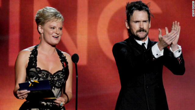 Martha Plimpton, winner of best guest actress in a drama for &quot;The Good Wife,&quot; and Jeremy Davies, winner of best guest actor in a drama for &quot;Justified,&quot; address the audience.
