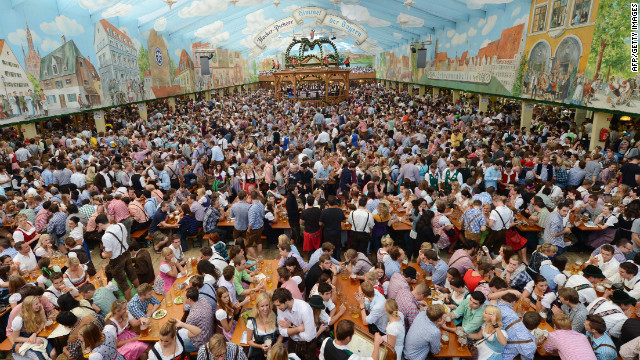 Revelers fill an Oktoberfest tent at the Theresienwiese festival grounds on Sunday, September 23.