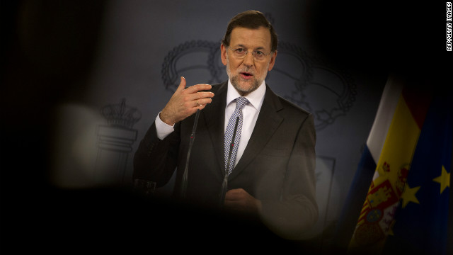 Spain's Prime Minister Mariano Rajoy gives a press conference on September 11, 2012. The conference followed Finnish Prime Minister Jyrki Katainen backing Spain and calling the crisis &quot;unfair.&quot; 