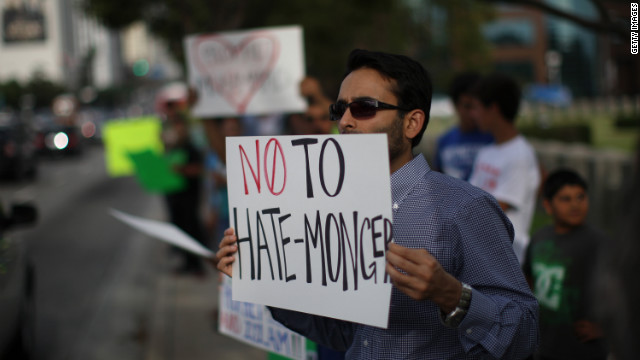 A member of the Muslim Congress protests hatred against Islam last week in Los Angeles.