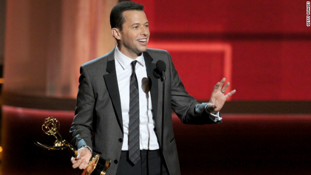 "Jon Cryer accepts the best lead actor award in a comedy series for ""Two and a Half Men."""
