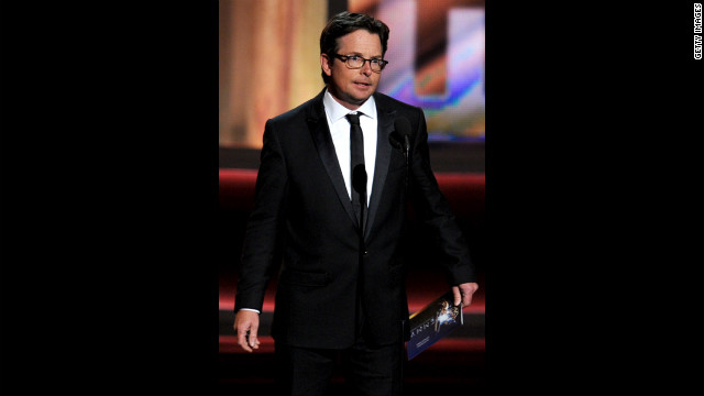 Actor Michael J. Fox receives a standing ovation as he presents the final award of the night.