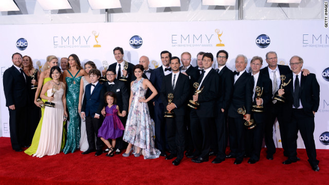 ABC's &quot;Modern Family&quot; wins best comedy series for the third consecutive year. Eric Stonestreet and Julie Bowen also won Emmys for best supporting actor and actress in a comedy, and Steve Levitan won best comedy direction.