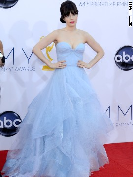 Zooey Deschanel looked ethereal at the 2012 Emmys in a pale blue gown.