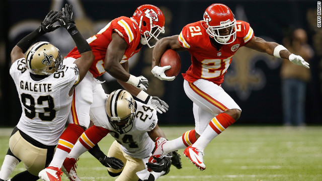 Javier Arenas of the Kansas City Chiefs avoids a tackle during Sunday's game against the New Orleans Saints.