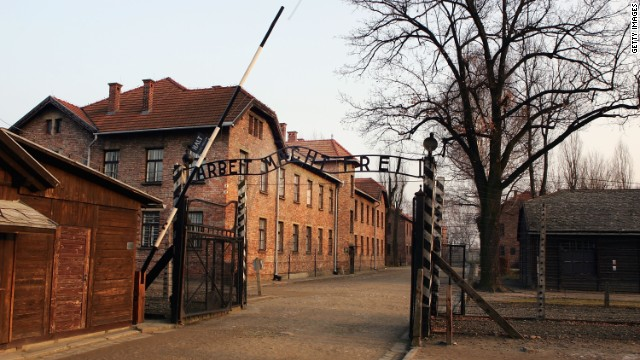 Exterior view of Auschwitz complex (file) shows the entrance gates with words 