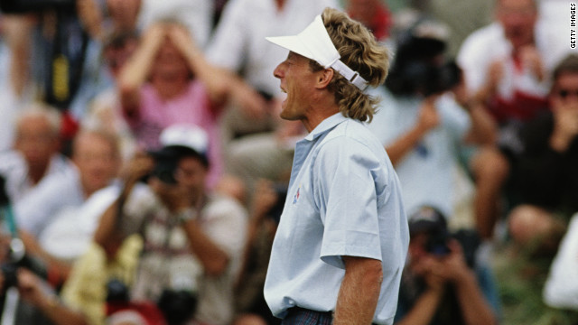The agony of defeat: Bernhard Langer reacts after missing the putt which would have tied the match against the United States at Kiawah Island in 1991. 